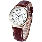 ORKINA Rose Gold Stainless Steel Chronograph Brown Leather Men's Wrist Watch New ORK152, Watch Central