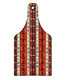 Lunarable Mexican Cutting Board, Abstract Ethnic Pattern in Vivid Colors Fancy Ornament Geometrical Design Print, Decorative Tempered Glass Cutting and Serving Board, Wine Bottle Shape, Multicolor
