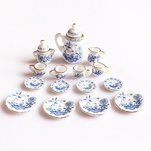 MonkeyJack 1/12th Dining Ware China Ceramic Tea Set Dolls House Miniatures Blue (Miniature Ceramic Tea Set)