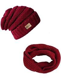 Knit Beanie Infinity Scarf for Women Men Circle Loop Scarves Hat Set