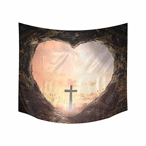 Sunset Cross (Entrance to God Concept Tapestries Wall Art Home Decor, Heart Shape of Cave with the Cross on Meadow Sunset Horizontal Tapestry Wall Hanging Art Sets 60 X 51 Inches)