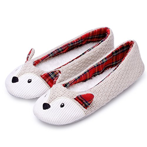 Knitted Animal Slippers | Women Fleece Fox Slippers | Ballet House Shoes | Slip on Indoor Mouse Slippers | Memory Foam Anti-Slip Sole (7-7.5, Fox)