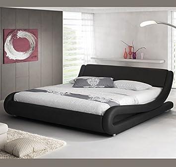 muebles bonitos Cama de Matrimonio de Polipiel Moderna Alessia para colchón de 135 x 190 cm Negro con somier de Laminas Incluido