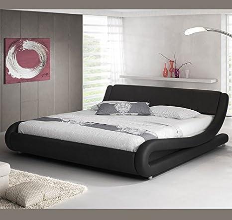 muebles bonitos Cama de Matrimonio de Polipiel Moderna Alessia para colchón de 180 x 200 cm Negro con somier de Laminas Incluido: Amazon.es: Hogar