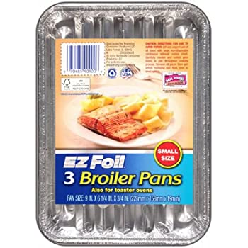 3PK 9x6.25 Broiler Pan (small Disposable Broiler Pan)