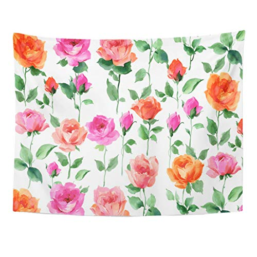 Emvency Tapestry 60 x 50 Inches Colorful Abstract Flowers Floral Rose American Beauty Anniversary Beautiful Bel Fiori Bella Home Decor Tapestries Wall Hangings Art for Living Room Bedroom Dorm ()