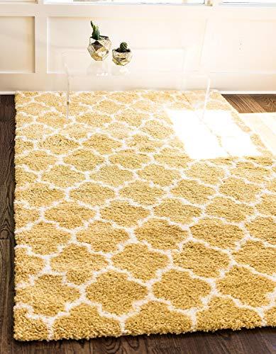 Unique Loom Rabat Shag Collection Lattice Trellis Geometric Moroccan Plush Yellow Area Rug (5' x 8')