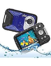 Heegomn Waterdichte digitale camera voor kinderen, 16 MP Full HD 1080P, 8-voudige digitale zoom, onderwatercamera voor jongeren/beginners