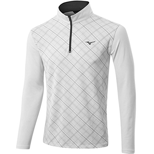 Mizuno Golf 2017 Mens Lightweight Breath Thermo 1/2 Zip Thermo Pullover White (Mizuno White Pullover)