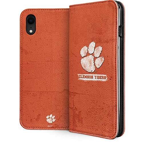Skinit Clemson University iPhone XR Folio Case - Officially Licensed Clemson University Phone Case - Faux-Leather Wallet iPhone XR Cover