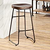O&K Furniture 30-Inch Retro Bar Stool Kitchen Chair, Backless Counter Stool Saddle Seat, Rustic Brown (1-PC)