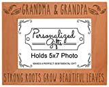 Grandma Grandpa Gifts Grandma and Grandpa Strong Roots Grow Beautiful Leaves Gift Ideas for Grandma Natural Wood Engraved 5x7 Landscape Picture Frame Wood