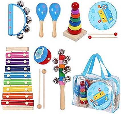 Hand Drum with Wooden Mallets Kids Preschool Learning Musical Learning Toys