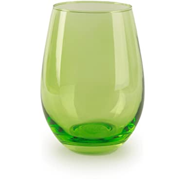 Circleware 44681 Calabria Stemless Wine Glasses, Set of 4 Drinking Glassware for Water, Juice, Beer, Liquor and Best Selling Kitchen & Home Decor Bar Dining Beverage Gifts, 18.5 oz, Lime Green
