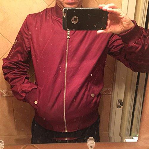 Donna Rosso Outwear Ragazzi Ragazze Autunno Vino Hibote Inverno Capospalla Zipper Uomo Giacche Moda Baseball per Cappotto Pilota 5A8qZpnfw