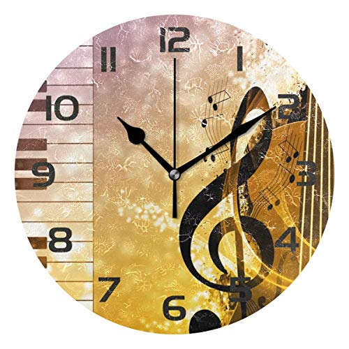 Dozili Music Notes Musical Piano Key Decorative Wooden Round Wall Clock Arabic Numerals Design Non Ticking Wall Clock Large for Bedrooms, Living Room, Bathroom