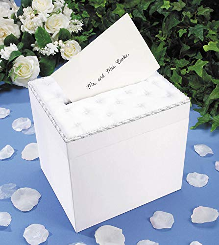 Darice VL8132722F Wedding Satin Card Box with Crystal Flip Top Opening, White