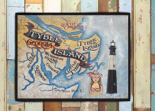 Custom Listing for Katie. Tybee Island Georgia Beach Map Print from an original hand painted and lettered sign.