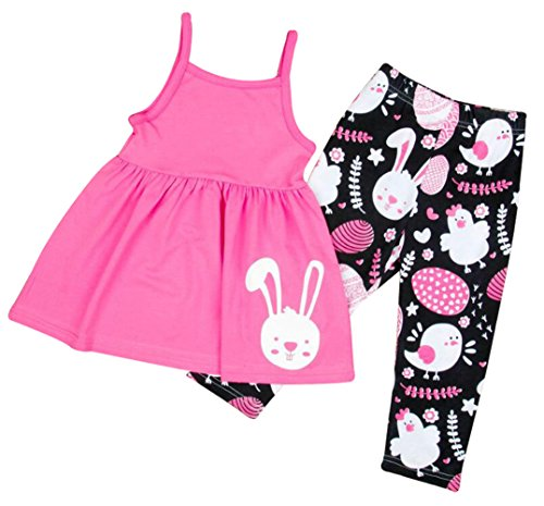 Easter Dress Set - EGELEXY Easter Rabbit Baby Girls Clothes Sets Summer Cotton T-Shirt Tops Pants 2PCS Size 5-6Years/Tag130 (Pink)