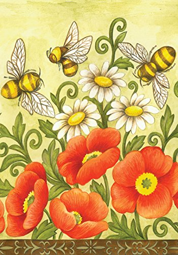 Toland Home Garden Bees and Wildflowers 28 x 40 Inch Decorative Spring Summer Flower Buzzing Bee House Flag]()