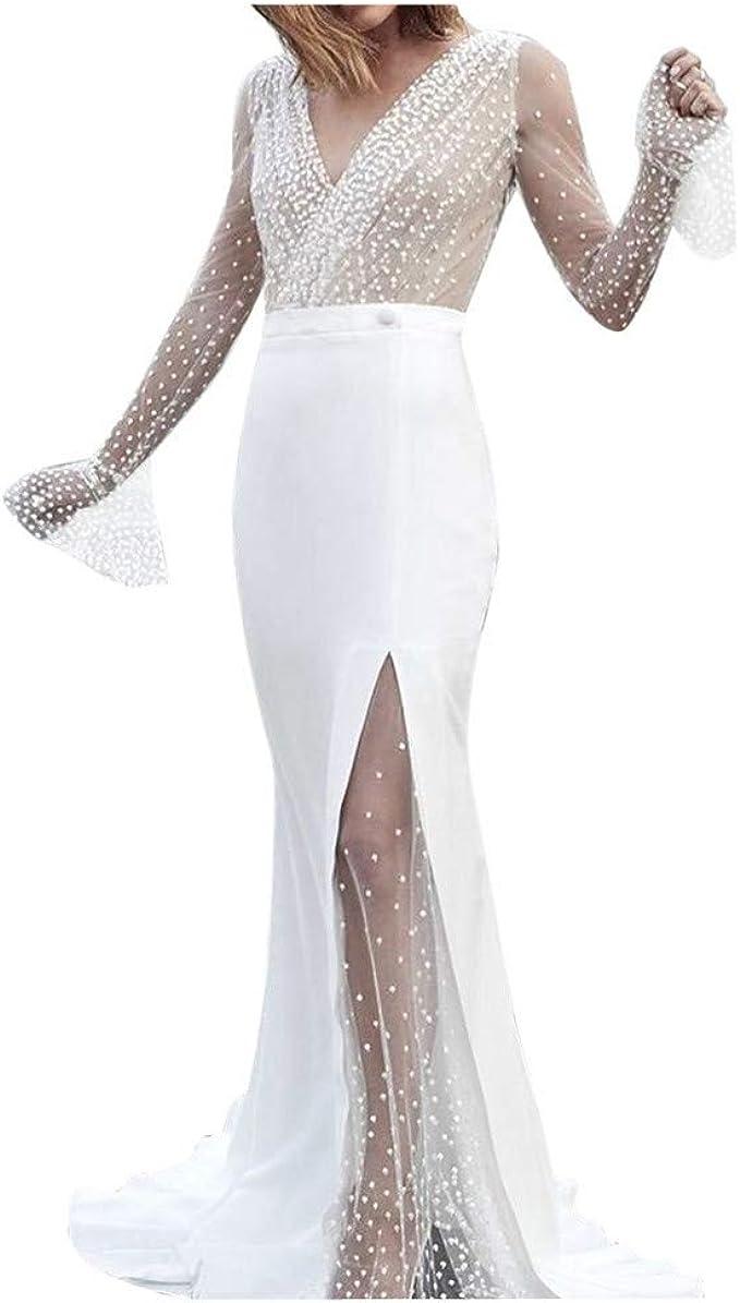 Xisimei Kleider Damen Tüll Langarm Spitzenkleid Prinzessin Kleid