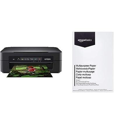 Epson XP255 Impresora de inyección de Tinta 3IN1 C11CH17403 A4/WLAN & AmazonBasics Papel Multiusos para Impresora A4 80gsm, 1 Paquete, 500 Hojas, ...
