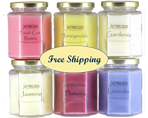 SPRING FRAGRANCE CANDLE PACK - Fresh Cut Roses, Gardenia, Honeysuckle, Jasmine, Lavender & Plumeria with   Scented Soy Candles