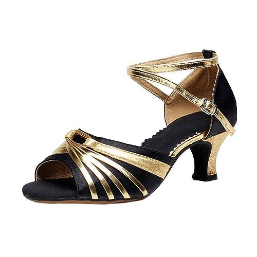 IOSHAPO para Mujer Zapatos de tacón Alto para Baile Latino