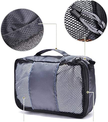 旅行用収納袋 3ピースの耐久性のある旅行の必需品バッグ服パッキングキューブ旅行オーガナイザー荷物圧縮ポーチ防水服収納袋のセット ハンドロールアップ再利用可能な服 (色 : グレー, Size : Free size)