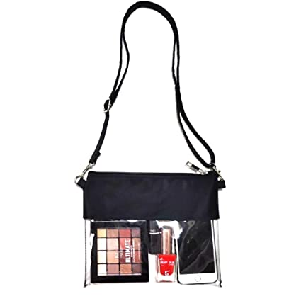 cef08ba1c20f Miraclery Clear Crossbody Bag NFL Stadium Approved Transparent Clear Purse  Zippered Tote Bag with Adjustable Shoulder Strap and Wrist Strap for Work,  ...