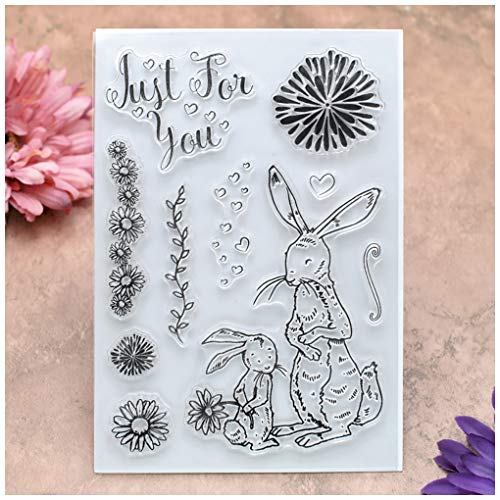 Just For You Heart Rabbit Clear Stamps for Card Making Decoration and DIY Scrapbooking ()
