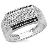 0.45 Carat (ctw) Sterling Silver White & Black Diamond Men's Hip Hop Pinky Ring 1/2 CT (Size 11.5)
