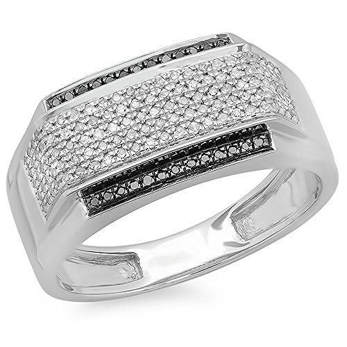 0.45 Carat (ctw) Sterling Silver White & Black Diamond Men's Hip Hop Pinky Ring 1/2 CT (Size 10.5) by DazzlingRock Collection