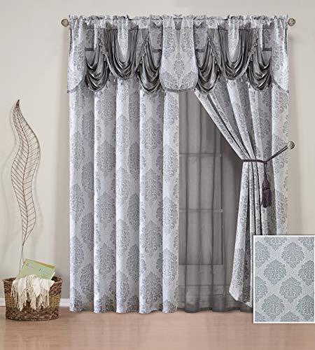 Sapphire Home 2 Jacquard Window Curtain Drape