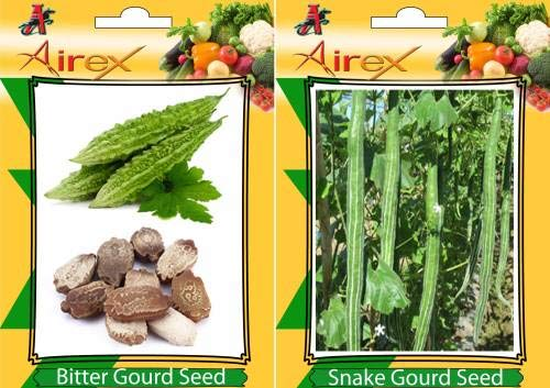 Shopmeeko Seed Bitter Gourd and Snake Gourd Vegetables Seed + Humic (for Growth of All and Better Responce) 15 gm Humic + Pack of 30 Seed Bitter Gourd + 15 Snake Gourd Seed (30 per Packet)