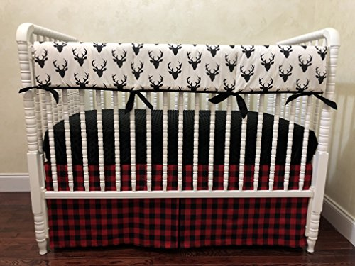 Hayden Baby Bedding - Nursery Bedding,1 - 4 piece Baby Boy Crib Bedding Set Hayden- Deer Crib Bedding with Red & Black Buffalo Plaid, Crib Rail Guard Cover - Choose Your Pieces