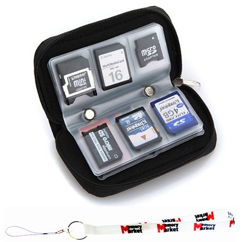 MemoryMarket Memory Card Carrying Case - Black / Wallet / Holder / Organizer / Bag - Storage for SD SDHC CF xD Camera Memory Cards with Lanyard