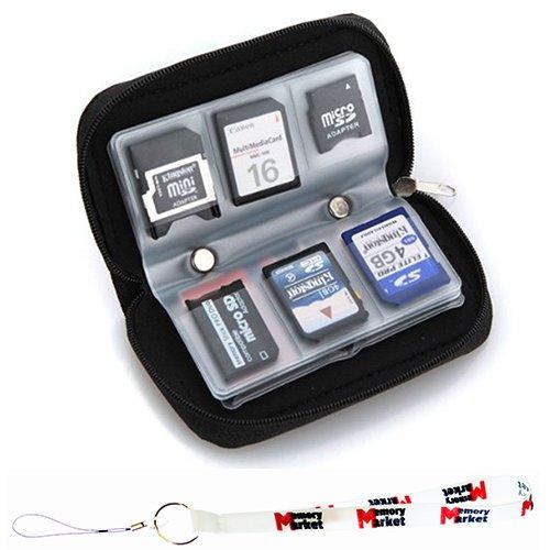 MemoryMarket Memory Card Carrying Case - Black / Wallet / Holder / Organizer / Bag - Storage for SD SDHC CF xD Camera Memory Cards with Lanyard