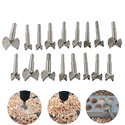 Woodworking Forstner Drill Bits Sets, HEHEINC 17 PCS Carbon High Speed Steel Wood Working Hole Cutter Titanium Coated Wood Boring Hole Drilling Sets with Round Shank 15mm-38mm