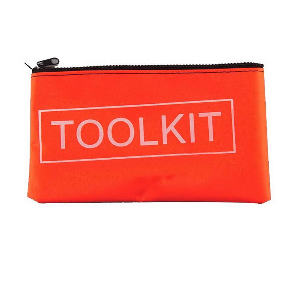 Loweryeah Zipper Canvas Tool Kit Bag Simple Style Canvas Tools Set Bag Orange 195115mm 1pcs