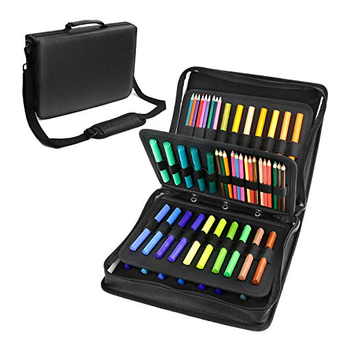 180 Colored Pencils Case / 140 Gel Pens Bag - YOUSHARES PU Leather Colored Pencil & Gel Pen Case with Zipper Holds - Artist use Supply School Large Capacity Professional Storage?Black?