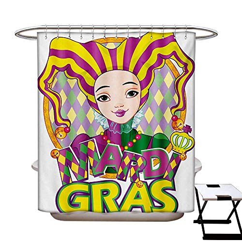 BlountDecor Mardi Gras Shower Curtains 3D Digital Printing Carnival Girl in Harlequin Costume and Hat Cartoon Fat Tuesday Theme Custom Made Shower Curtain W48 x L72 Yellow Purple Green -
