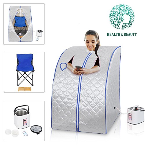 Koval Inc. 2L Portable Steam Sauna Tent SPA Detox Weight Loss W Chair Color Opt (Silver)