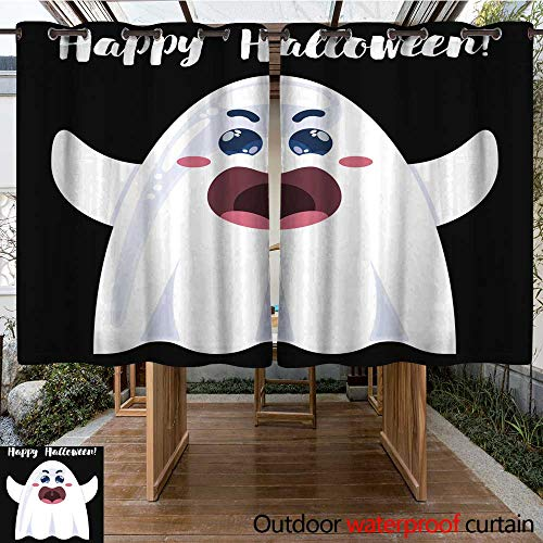 RenteriaDecor Outdoor Curtain for Patio Halloween Funny Cartoon Ghost W55 x L72 ()