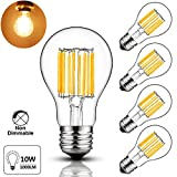 LuxVista 10W A60 E27 LED Antique Filament Bulb Warm White 2700K Edison Screw ES E27 Base 100W Incandescent Equivalent (4-Pack)