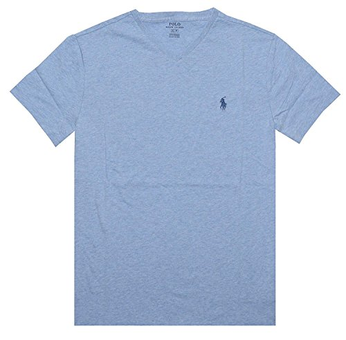 (Polo Ralph Lauren Mens Classic Fit V-Neck T-Shirt ((Small, Jamaica Blue))