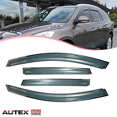 AUTEX Tape on Window Visor Fits for 2008 2009 2010 2011 2012 2013 2014 2015 2016 2017 2018 Buick Enclave Side Window Wind Deflector Sun Rain Guard