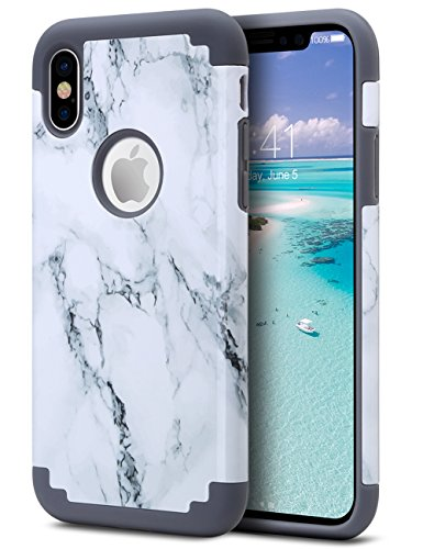 ULAK Case for iPhone Xs 5.8 Inch 2018, iPhone X 2017, Slim Fit Heavy Duty Protection Hybrid Soft Rubber & Silicone Hard PC Back Cover Shock Absorption Support Wireless Charging, Marble