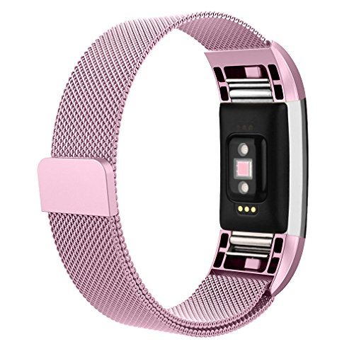 AK for Fitbit Charge 2 Bands, Adjustable Milanese Stainless Steel Metal Band Strap with Magnetic Closure Clasp for Fit bit Charge 2 HR Fitness Tracker (#Sakura Pink, Small)