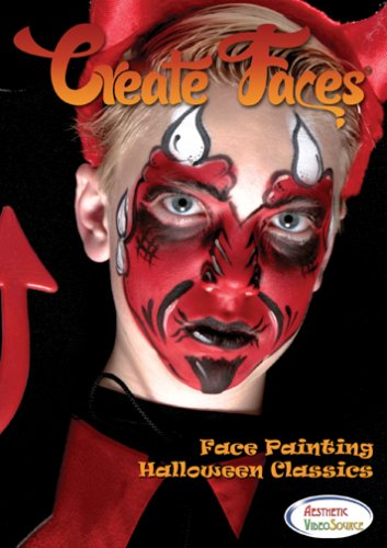 Create Faces Face Painting: Halloween Classics. Watch & Learn How To Do 8 Face Paint Designs With Water Based & Snazaroo Paints. 1 Hour 45 Minutes Step By Step Video. Devil, Princess, Clown, Pirate, Witch, Scarecrow, Alien Monster, and Super Hero Styles.